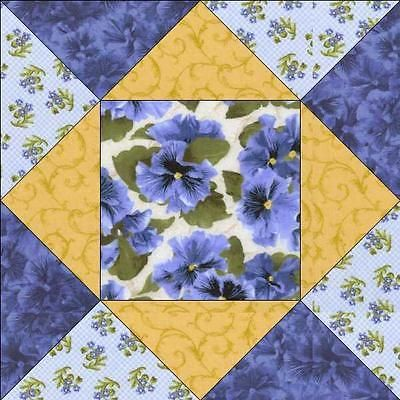 Debbie Beaves Lovely Blue Yellow Floral Pansy Fabric Quilt Block Pre-cut Kit
