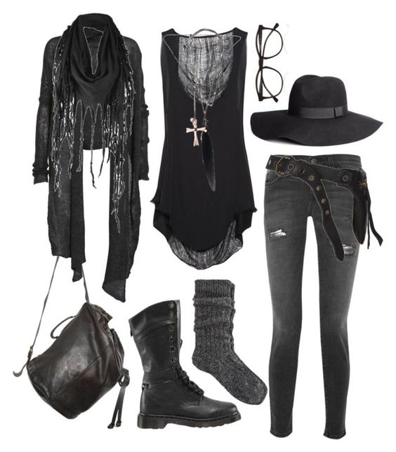 just casually braving the apocalypse by n-nyx on Polyvore featuring Raquel Allegra, Helmut Lang, Current/Elliott, River Island, Dr. Martens, Ann Demeulemeester, Dsquared2, Firetrap, H&M and Illesteva: