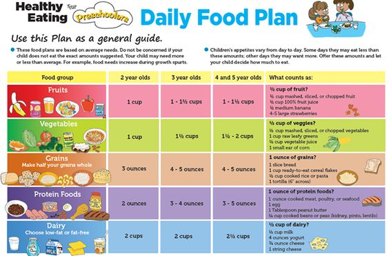 Healthy Eating For Preschoolers Daily Food Plan