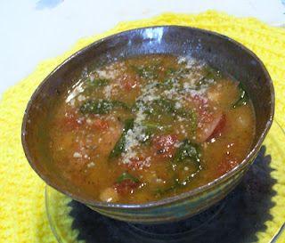 Delicious Slow Cooker White Bean Stew with Kielbasa by Kalyn's Kitchen