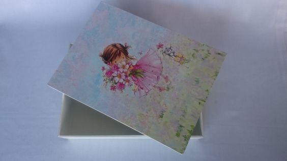 caixa de mdf com decoupagem e pintura - Sueli Pessoa - Plick Ateliê