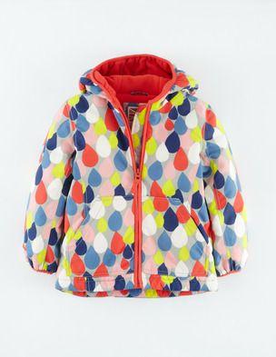 Mini Boden -Fleece Lined Anorak in multi raindrop- Girls rain