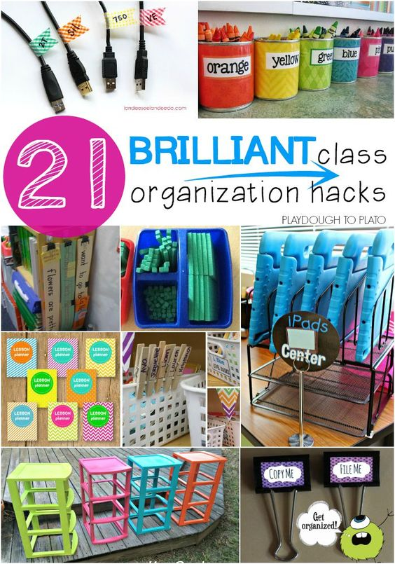 21 Brilliant Classroom Organization Hacks. Genius tricks for storing supplies, keeping track of student work, plus tons of free printables to keep you organized all year long.: