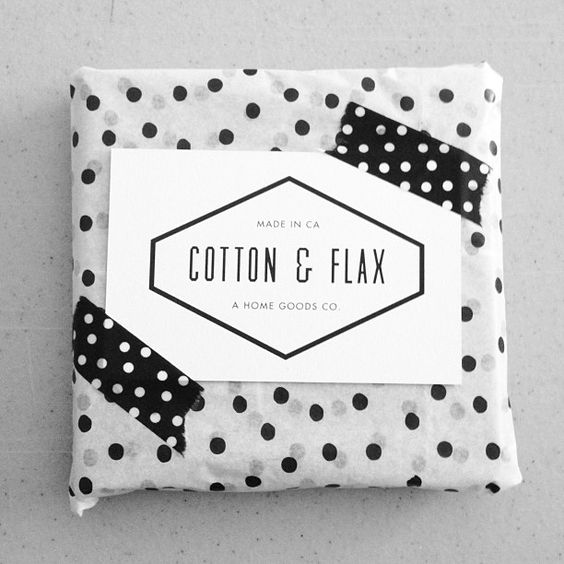 Dotty packaging for Cotton & Flax online orders