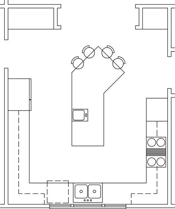 Kitchen layouts layout and kitchen trends on pinterest for Kitchen configurations