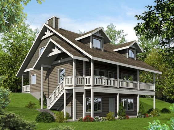 House plans the two and house on pinterest Sloped lot house plans walkout basement