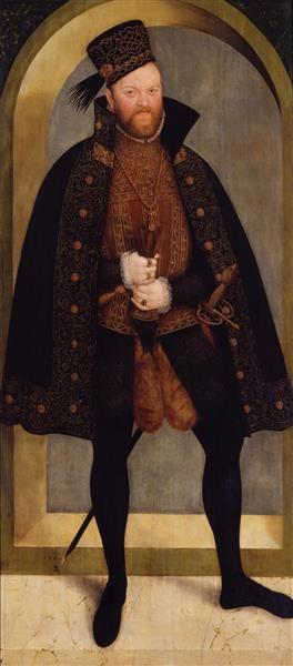 1565.КурÂфюрст Август СакÂсонÂкий.(Lucas Cranach,1515-86).Дерево, масло.210Ñ92см.ОруÂжейÂная палата,ДрезÂденÂ,гос.собр.проÂизÂвеÂдеÂний иск-ва.Август I Саксонский (August I.von Sachsen;31.07.1526, Фрайберг-12.02.1586,Дрезден) курфюрст Саксонии,сын герц. ГенриÑа Благочестивого от брака с Катариной Мекленбургской.Учился в школе в родном городе,затем провёл некот.время при дворе кор. Фердинанда в Праге,где подруж.с его сыном Максимилианом, впосл.императором,слушал лекции в Лейпцигском унив-те.
