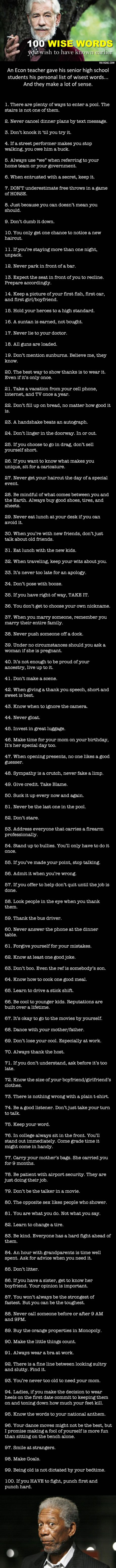 100 Wise Pieces of Advice