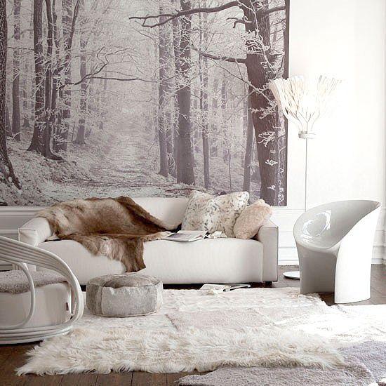 Salón con imagen en la pared