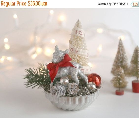 Vintage Style Christmas Decoration Silver Deer Bottle Brush Tree Vintage Tart Tin Red Bow And Ornament Vintage Inspired Christmas Decor