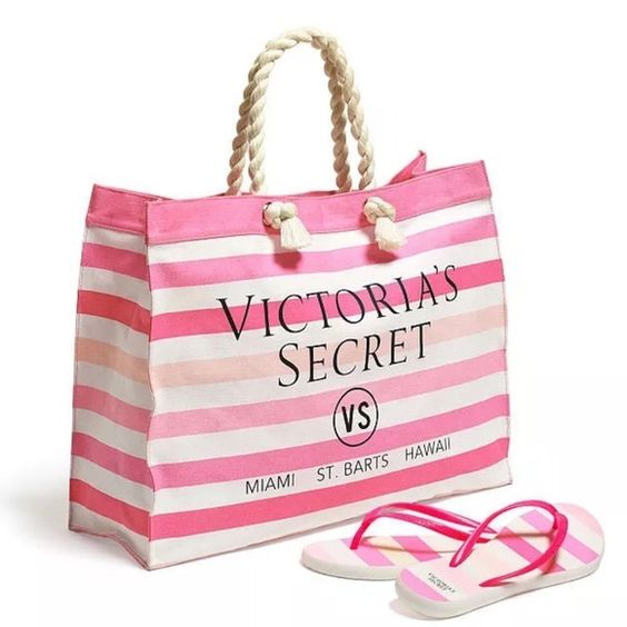 Victoria secret summer tote with matching flipflop Brand new! Flip flop size M. Victoria's Secret Bags Totes