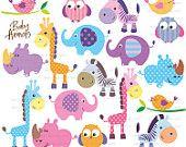 Carino animali Clip Art carino piccolo bambino animali Clipart compleanno festa giraffa elefante gufo Zebra Rhino uccello Scrapbook insegnante fornitura 10422