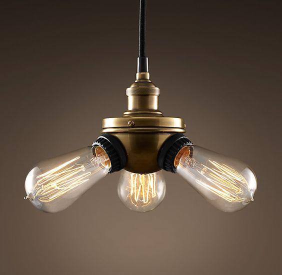 Triple Edison Bulb Lamp: Bare Bulb Filament Triple Pendant Aged Steel