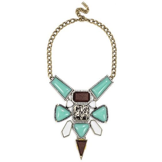 BaubleBar 'Dreamcatcher' Bib (€51) ❤ liked on Polyvore featuring jewelry, necklaces, colar, collar, turquoise, bib collar necklace, bib jewelry, wood jewelry, bib necklace and baublebar jewelry