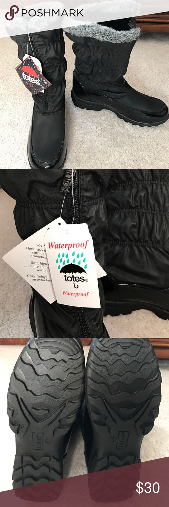 Waterproof winter boots by Totes Never worn. Made warm for winter. Totes Shoes Winter & Rain Boots