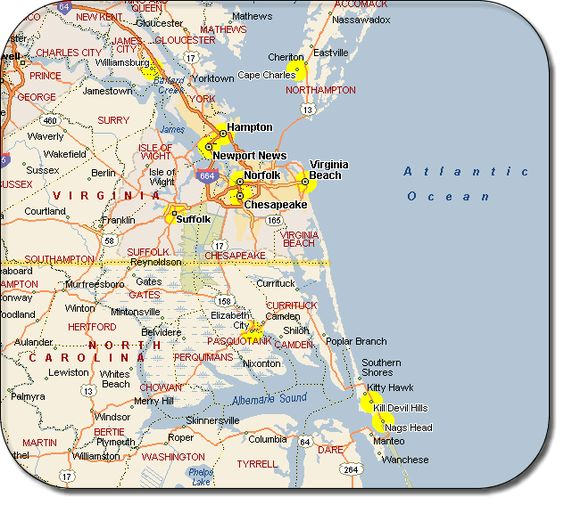 virginia beach va – Virginia Travel Map