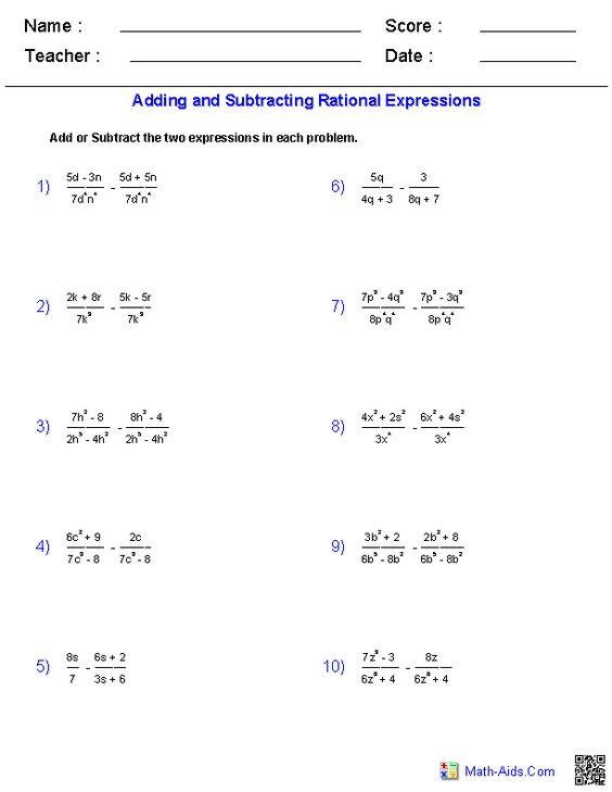 Printables Adding Radicals Worksheet adding and subtracting rational expressions worksheets a2 worksheets