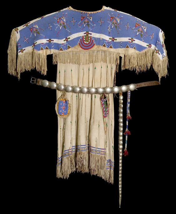 "Lakota dress, c. 1870Buckskin, glass beads, thread ""…this ..."