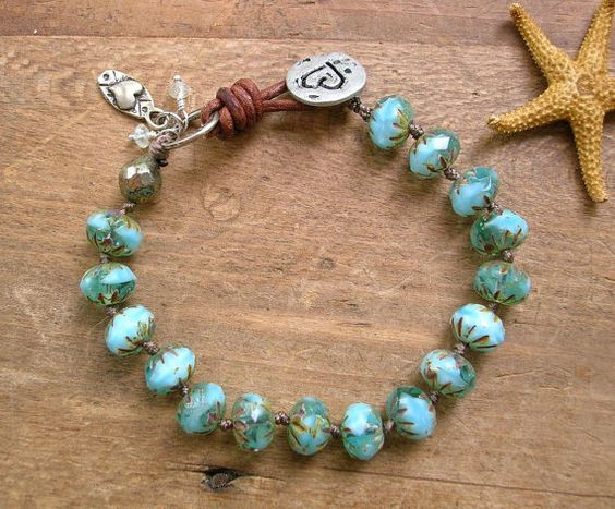 Aqua knotted bracelet - Summer Fling - Boho beach jewelry, leather bracelet, hearts, aquamarine, artisan bronze charms sundance