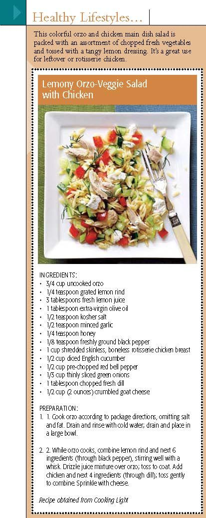Healthy lemon, veggies & orzo chicken salad