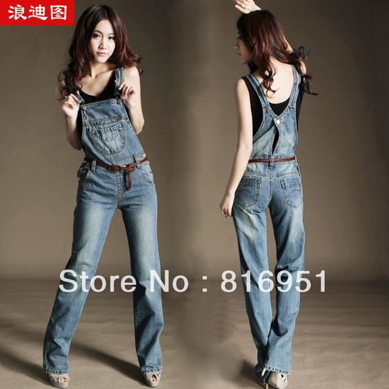 Straight jumpsuit denim bib overalls women bodysuits women romper ...