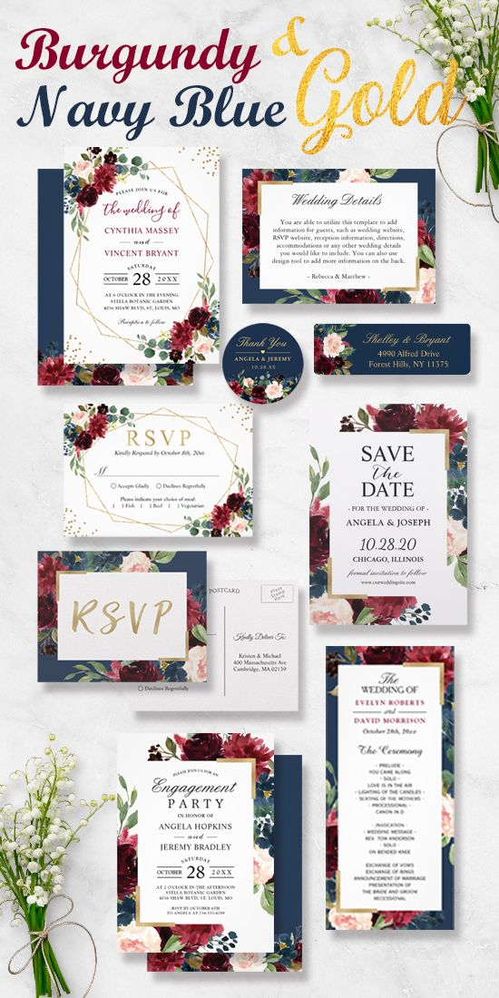 Modern Meets Vintage Burgundy Floral Wedding Invitation Suite ...
