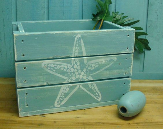 Wooden crate boxes wooden crates and beach house decor on for Painted crate ideas