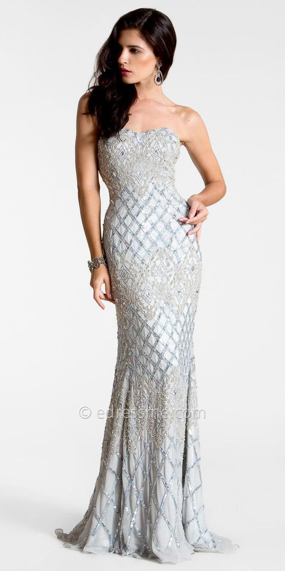 Silver Embellished Beaded Evening Gowns by Nika  BEAUTY . fashion ...