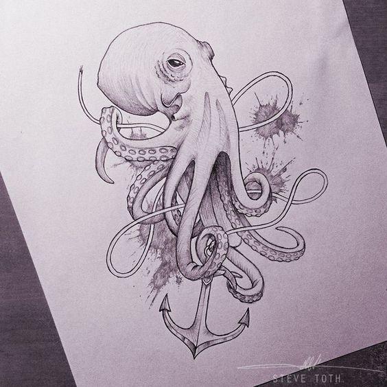 Croquis de poulpe, idée de tatouage.