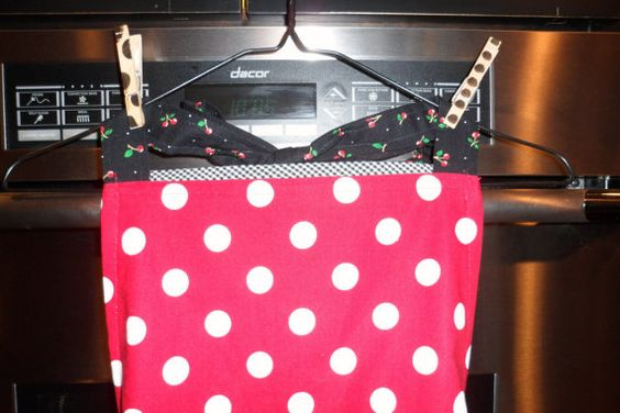 Apron done in a big white dots on red cotton by ShesInStitches
