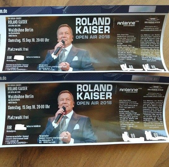 Details Zu 2x Konzertkarten Roland Kaiser Waldbuhne Berlin 15 09 2018