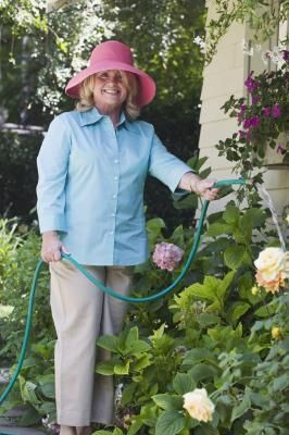 Using a pump to water garden from rain barrel water