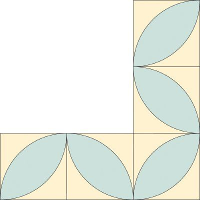 Block Leaf Quilt Border Pattern for Corners: