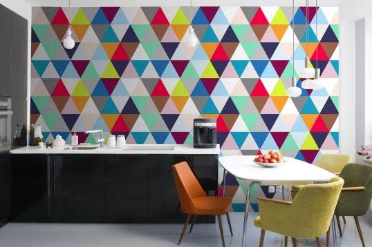 Multicoloured Triangles Wallpaper | MuralsWallpaper.co.uk