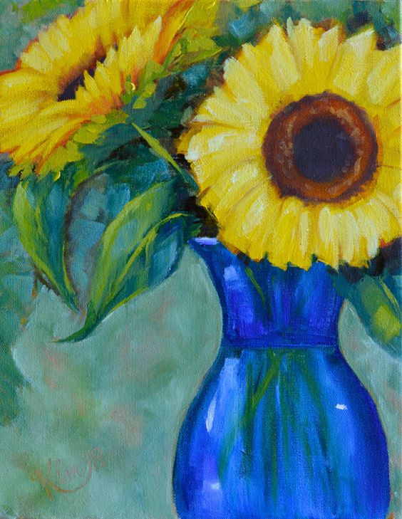 Original oil painting: Sunflower Joy cobalt blue by KIMPETERSONART