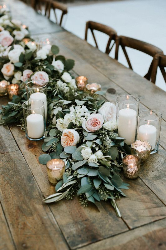 Love the lush eucalyptus greenery with peonies/ garden for a table runner/ wedding centerpiece, especially with white candles interspersed
