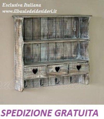 Deliziosa doppia mensola in stile country realizzata in legno 3 ...