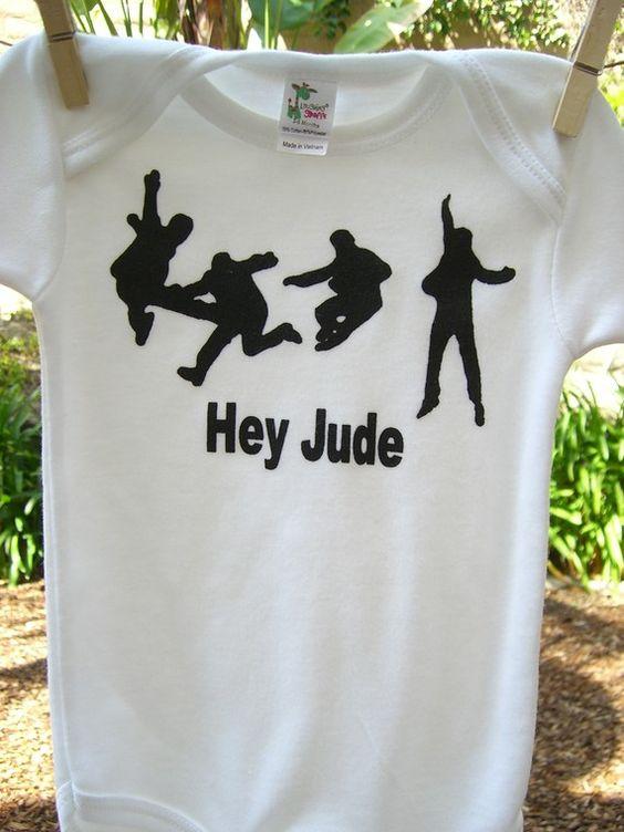 Beatles hey jude onesie or toddler t shirt hand screen print baby