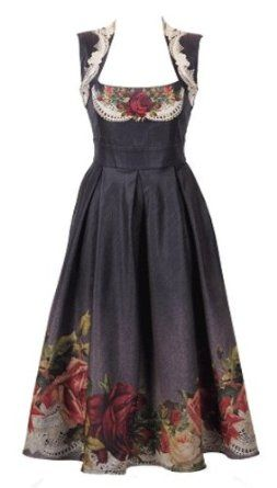 Amazon.com: Michal Negrin '50s Style Tea-Length Jeans Dress with Figure Flattering Fit and Flared Silhouette with Pleated Skirt and Victorian Roses Pattern on Bodice and Hem and Lace Accents: Clothing