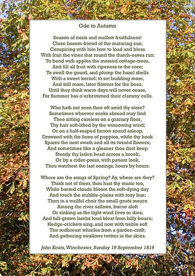 john keats to autumn the splendor of autumn A summary of to autumn in john keats's keats's odes learn exactly what happened in this chapter, scene, or section of keats's odes and what it means perfect for acing essays, tests, and.