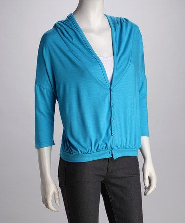 Take a look at this Blue Raz Three-Quarter Sleeve Hooded Cardigan by Rebecca Michaels on #zulily today!