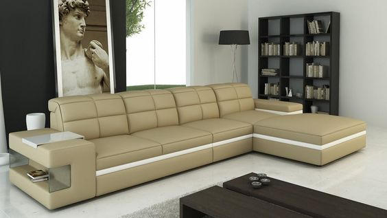 Sleeper Sofas Divani Casa Modern Beige and White Bonded Leather Sectional Sofa Sectional sofa sale Sofa sale and Leather sectional sofas