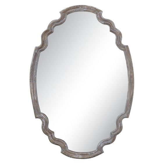 Oval Ludovica Aged Wood Decorative Wall Mirror - Uttermost