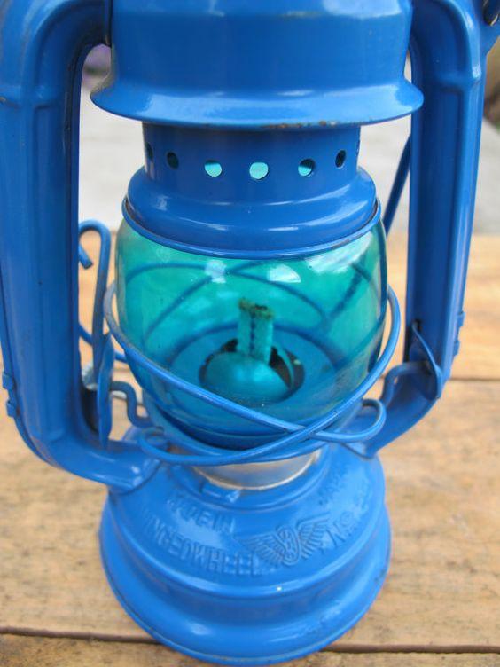 Bright Cerulean Blue Vintage Mini Kerosene by PortlandiaRevibe