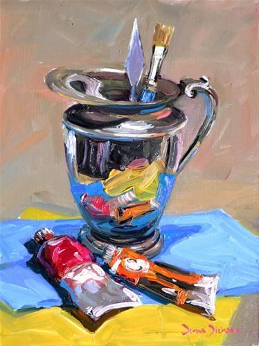 """Pitcher with Paints"" - Original Fine Art for Sale - © Donna Dickson"