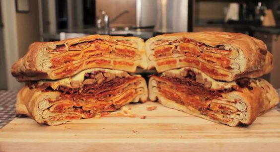 Epic Meal Time Creates Possibly The Worlds Largest Pizza Pocket - Steak egg sandwich build arnold schwarzenegger tank