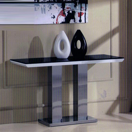 Stunning Dune Console Table In White High Glass U0026 Black Glass Top. Top Is  Made From Quality MDF With 8mm Glass Top, U0026 Stainless Steel Legs Http:/u2026