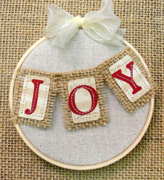JOY Christmas Ornament Embroidery Hoop Art Rustic Folk Gift Country Vintage Style Bunting ...