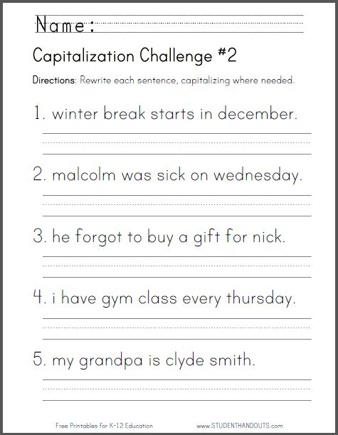 Printables Capitalization Practice Worksheets capitalization challenge 2 ccss for first grade l 1 a a
