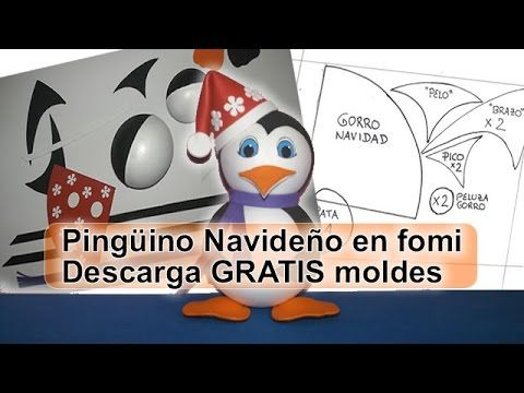 Pingüino con gorro de navidad Santa Claus Decoración navideña Fofuchas 3D - YouTube